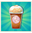 Delicious cold caramel frappe ice-cream vector