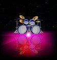 Abstract music background with drum kit and pink vector