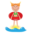 Cartoon beach girl vector