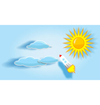 Rocket sun and clouds in the sky vector