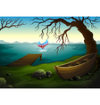 A boat under the tree near the sea with a big fish vector