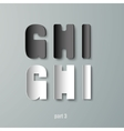 Paper graphic alphabet white and black ghi vector