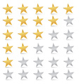 Gold and silver stars set - rating symbols vector