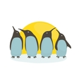 Penguins and sun vector
