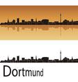 Dortmund skyline in orange background vector