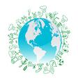 Eco symbols in green world vector