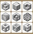 Cube icon set 5 vector