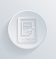 Circle flat icon tablet pad with sheet of paper vector