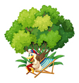 A duck reading under the tree vector
