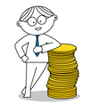 Lucky man with a stack of coins vector