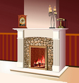 Fireplace with a fire burning vector