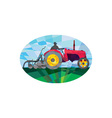 Farmer driving vintage farm tractor oval low vector