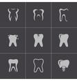 Black teeth icons set vector