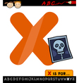 Letter x with x-ray cartoon vector