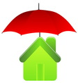 Green house under red umbrella insurance concept vector