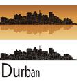 Durban skyline in orange background vector
