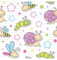 Pattern with insects and snails vector