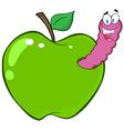 Happy worm in green apple vector