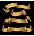 Gold glossy ribbons on a black background vector