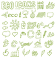 Eco icons hand draw 3 vector