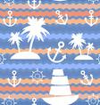 Marine background palms anchor steering wheel wave vector