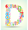 Letter d colored font from numbers vector