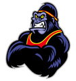 Big sporty gorilla crossed arm vector