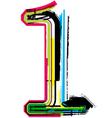 Grunge colorful font number 1 vector