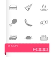 Black food icons set vector