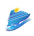 Cruise sun and waves logo vector