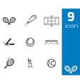 Black tennis icons set vector