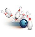 Bowling ball crashing into the pins vector