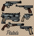 Pistols cartoon collection vector