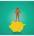 Man stand up on the piggy bank for saving money st vector