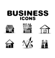 Black glossy business icon set vector