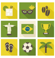 Green and yellow brazil icons isolated on white vector