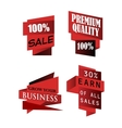 Set of origami labels for business vector