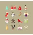 Christmas flat icons set 4 vector