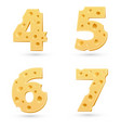 Set of cheese numbers vector