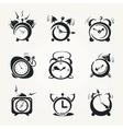 Alarm clock black icons vector