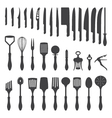 Dinner cutlery silhouette set vector