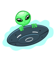 Alien in flying saucer vector