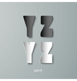 Paper graphic alphabet white and black yx vector