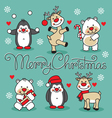 Set cute christmas animals with hand lettering vector