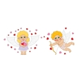 Boy and girl cupid angel characters valentines day vector