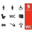 Black toilet icons set vector