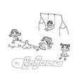 Little kids play on the playground - doodles set vector