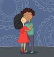 Multicultural boy and girl kissing vector