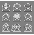Mail envelope web icons set on dark background vector