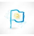Sun flag grunge icon vector
